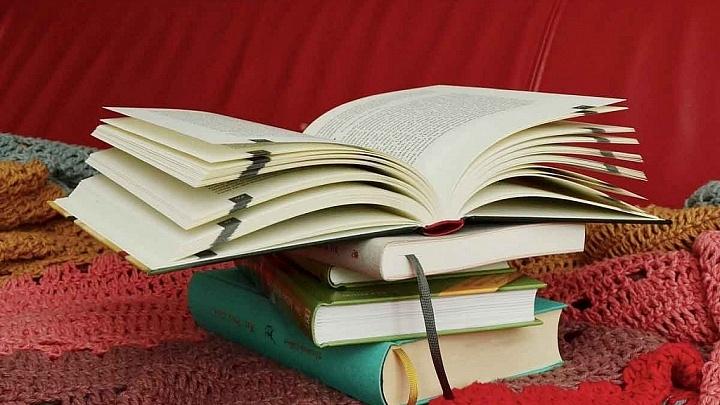 Bücherstapel auf der Couch